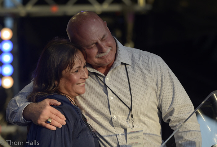 Fresno City Police Chief Jerry and his wife Diane embrace after Dyer gave his testimony on how Jesus changed his life and saved his marriage.