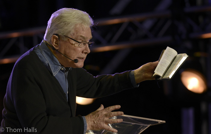 Evangelist Luis Palau speaks during the second night of the Fresno City Fest.  Palau challenged his audience with a message of hope and coming to Jesus Christ.